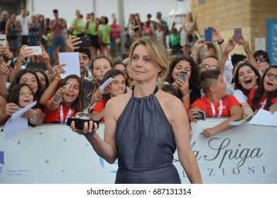 Giffoni Valle Piana, Sa, Italy - July 15, 2017 : Margherita Buy at Giffoni Film Festival 2017 - on July 15, 2017 in Giffoni Valle Piana, Italy