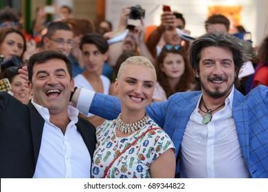 Giffoni Valle Piana, Sa, Italy - July 17, 2017 : Max Giusti, Arisa,Paolo Ruffini at Giffoni Film Festival 2017 - on July 17, 2017 in Giffoni Valle Piana, Italy