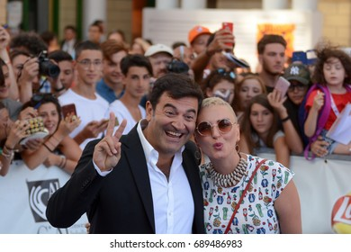 Giffoni Valle Piana, Sa, Italy - July 17, 2017 : Max Giusti and Arisa at Giffoni Film Festival 2017 - on July 17, 2017 in Giffoni Valle Piana, Italy