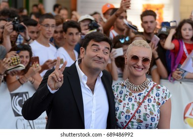 Giffoni Valle Piana, Sa, Italy - July 17, 2017 : Max Giusti and Arisa at Giffoni Film Festival 2017 - on July 17, 2017 in Giffoni Valle Piana, Italy