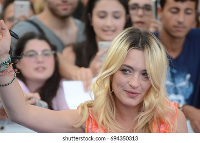 Giffoni Valle Piana, Sa, Italy - July 20, 2017 : Carolina Crescentini at Giffoni Film Festival 2017 - on July 20, 2017 in Giffoni Valle Piana, Italy