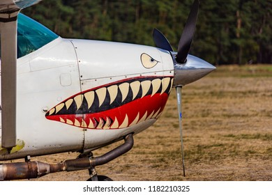 Gifhorn, Germany, September 16, 2018: View of the front part of a single engine sports aircraft with a painted teeth-sharpening mouth at the air show at Wilsche airfield.