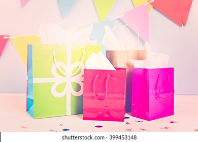 Gift bags at the kids Birthday party on the table.