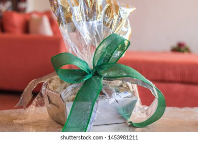 Gift basket with big green bow