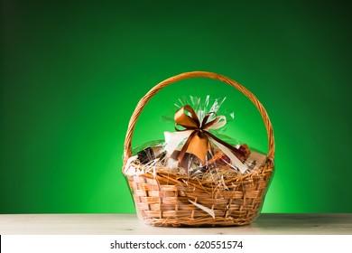 gift basket on green background