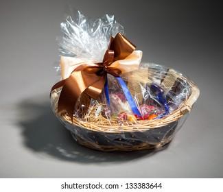 gift basket on grey