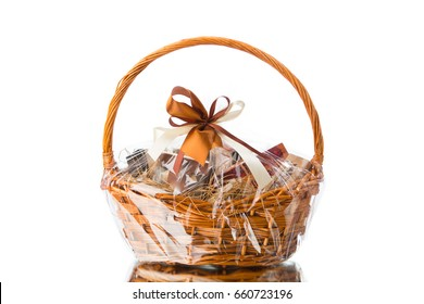 gift basket on white background