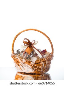 gift basket on white background