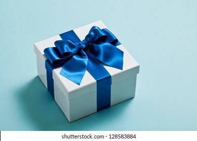 Gift, blue, ribbon