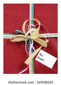 Gift with Bows and an Empty Tag with Room For Your Text