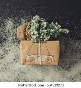 Gift box car drawing with chrismas tree. Flat lay. Christmas concept.