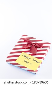 gift box with card tag write happy father's day word on a white background