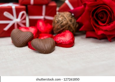 gift box, chocolate and flowers for Valentine's day