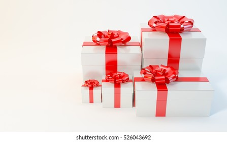 Gift box, Christmas, New Year, birthday, on white background illustration 3d rendering