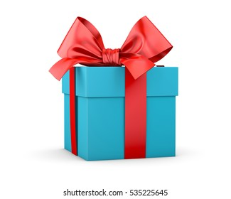 gift box for Christmas, New Year's Day ,red blue sky gift box white background 3d rendering