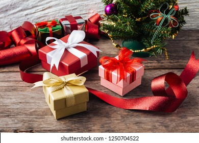 gift box Christmas on wooden background