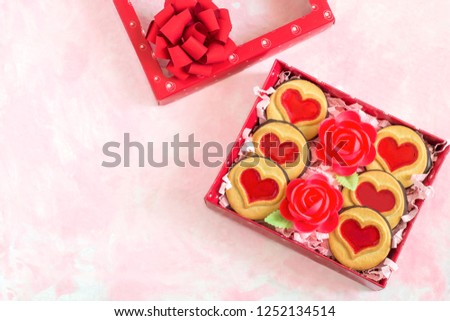 Gift Box Cookies Waffle Roses Valentines Stock Photo Edit Now