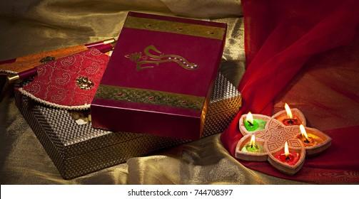 Gift box and diyas