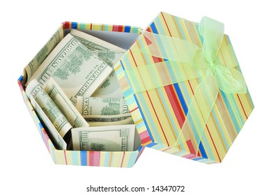 Gift Box with the dollars pile on white