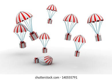 The gift box flying on parachute