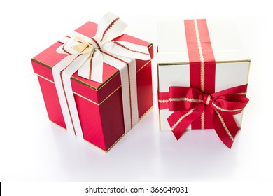 Gift box with gourmet chocolates on a white background.