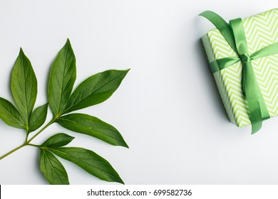 Gift box with green ribbon and bow on a white background, place for the inscription free green leaves and flowers on the edges