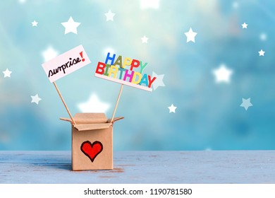 gift box with happy birthday and surprise on star lightning background