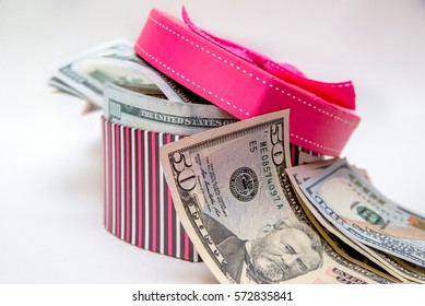 gift box as heart with US currency