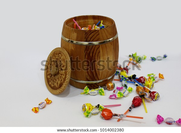Gift Box Holiday Small Wooden Barrel Stock Photo Edit Now 1014002380