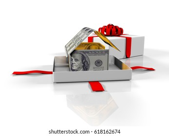 gift box in the house of banknotes on a white background, 3d render