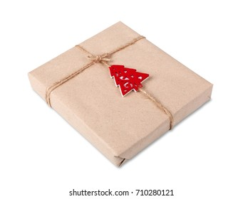 Gift box or mail parcels group, post delivery wrapped with kraft paper and twine, decorated with red toy christmas tree isolated on white background. Craft present for winter holidays