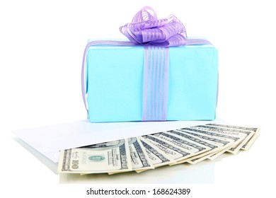 Gift box with money isolated on white