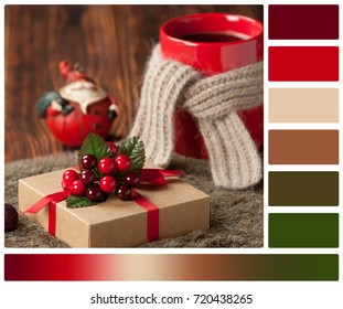 Gift Box. Mug Of Hot Coffee Or Tea. Christmas Decorations. Palette With Complimentary Color Swatches