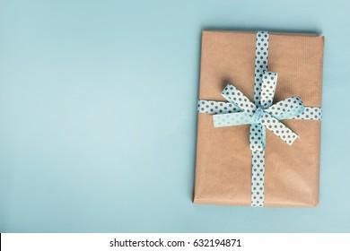 Gift box n blue background.