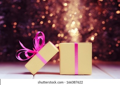 Gift box on holiday background