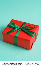 gift box on a turquoise background