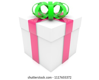 Gift box on white.3d illustration