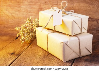 gift box on wood table