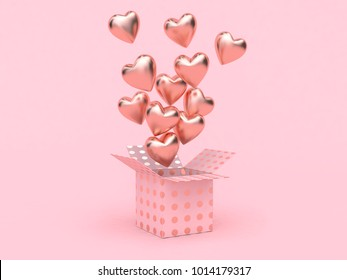 gift box open balloon heart floating pink background love valentine concept 3d rendering