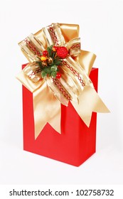 gift box over white background.