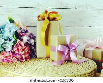 gift box present with flower bouquet decoration for mother's day and valentine's day