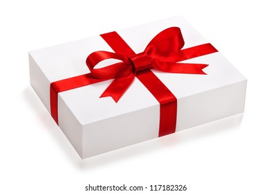 gift box, present over white background.