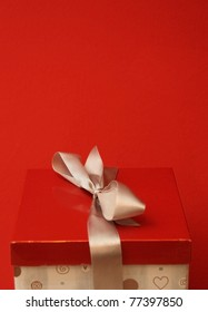 gift box in red background