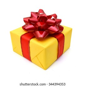 Gift box and red bow on white background