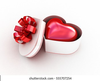 Gift box with red heart. 3D illustration