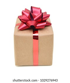 Gift box with a red ribbon on white background