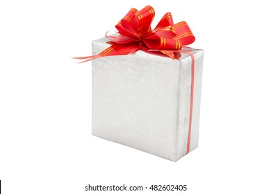gift box with red ribbon on white background.