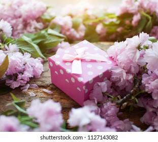 Gift box, ribbon and bow