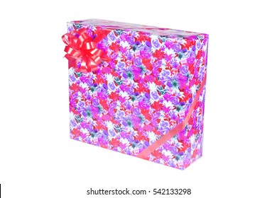 gift box with a ribbon and a bow isolated.