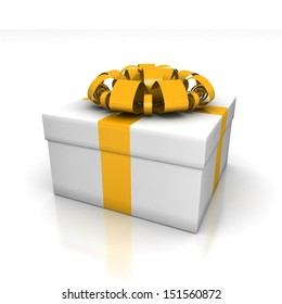 Gift box, with a ribbon like a present. over white background 3d illustration.